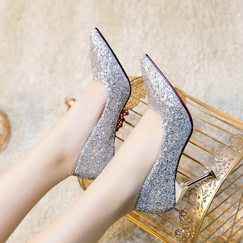 Dress Shoes Size34-39 2019 New Women's Luxurious Pumps High Heels Wedding Party Dress Woman Summer Sexy Ladies Super Shining Footwear