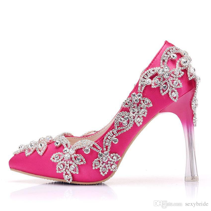 Fashion Luxury Crystal Beaded Wedding Evening Party Prom Pumps Shoes ... e22ad9f65376