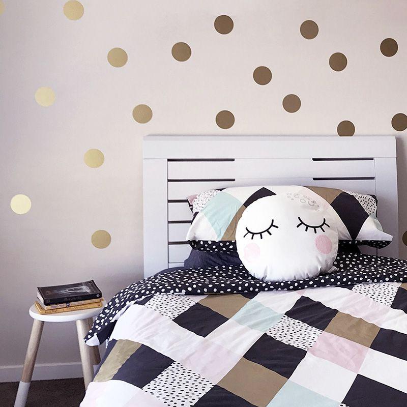 9ec62ae7ad98 2019 Gold Polka Dots Kids Room Baby Room Wall Stickers Children Home Decor  Nursery Wall Decals Wall Stickers For Kids Room Wallpaper From Pingwang3,  ...