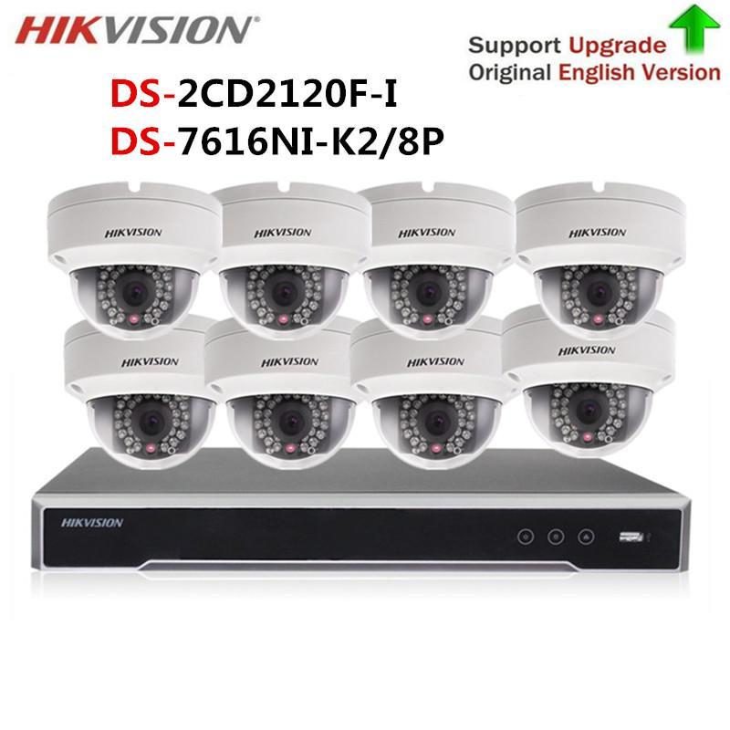 Hikvision Kit Camera Video Surveillance 4K H 265 NVR DS-7616NI-K2/16P& 2MP  IP POE Camera DS-2CD2120F-I With HD security