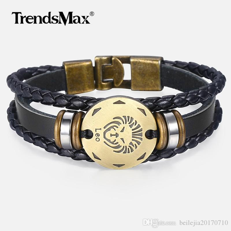dbaec37c489cd 12 Zodiac Sign Horoscope Men's Leather Bracelet Vintage Retro Charm  Wristband Male Jewelry Gifts for Men Leo Cancer Aries LBM136
