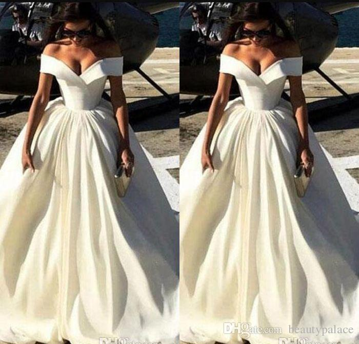 Discount New Fashion Simple Cheap Wedding Dresses Off The Shoulder