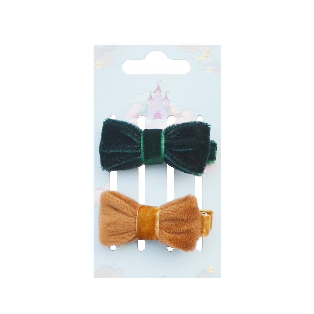 Autumn Winter 2 Pcs/Pack Adorable Green/Brown Wool Hair Clips Velvet Cutie Headwear Bow For Toddler Girls Party Hair Clip