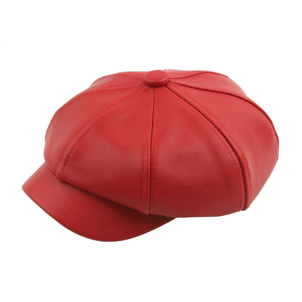 22e37cc1f1423 Women Fashion PU Leather Beret Octagonal Hat Vintage Spliced Solid ...
