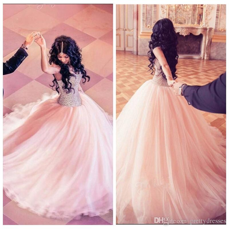 63daf1762 Sweetheart Bling Bling Crystal Beaded A Line Prom Dresses Tulle Skirt Long  Junior Special Occasion Party Gowns Custom Lace Up Back 2019 Cheap Short  Prom ...
