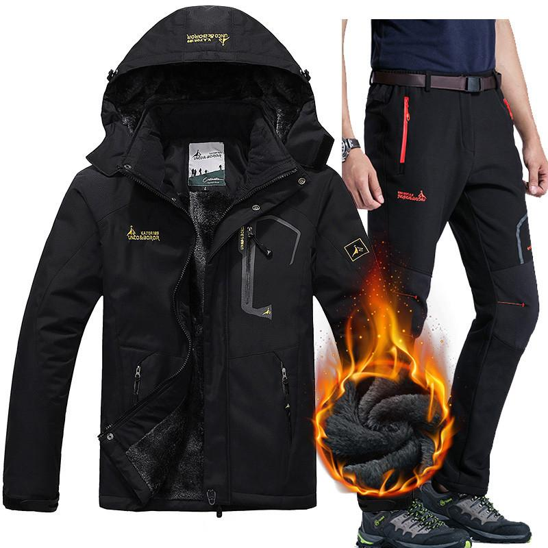 Hiking Jackets The Best Men Winter Warm Ski Jackets Pant Suits Waterproof Fleece Thermal Coat Outdoor Hiking Camping Snowboard 2 In 1 Jackets Pants Sets Online Discount Hiking Clothings