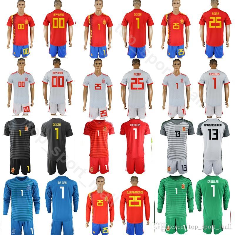 6186b2e87 2019 Men Goalkeeper Spain 1 David De Gea Jersey 2018 World Cup 1 Iker  Casillas 13 Pepe Reina Football Shirt Kits 13 ARRIZABALAGA Pant From  Top sport mall