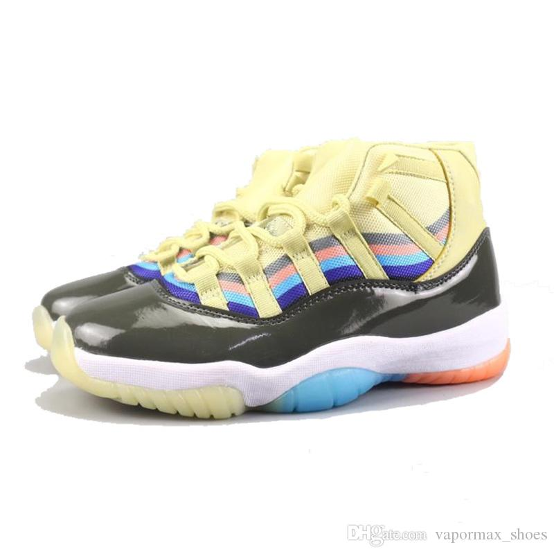 64028051a2ecf New 11 XI Shoes Cement 3D Colorful Men Basketball Shoes Sports Designer  Sneakers Running Shoes for Men Trainers Red Yellow Basketball Gear Basketball  Shoes ...