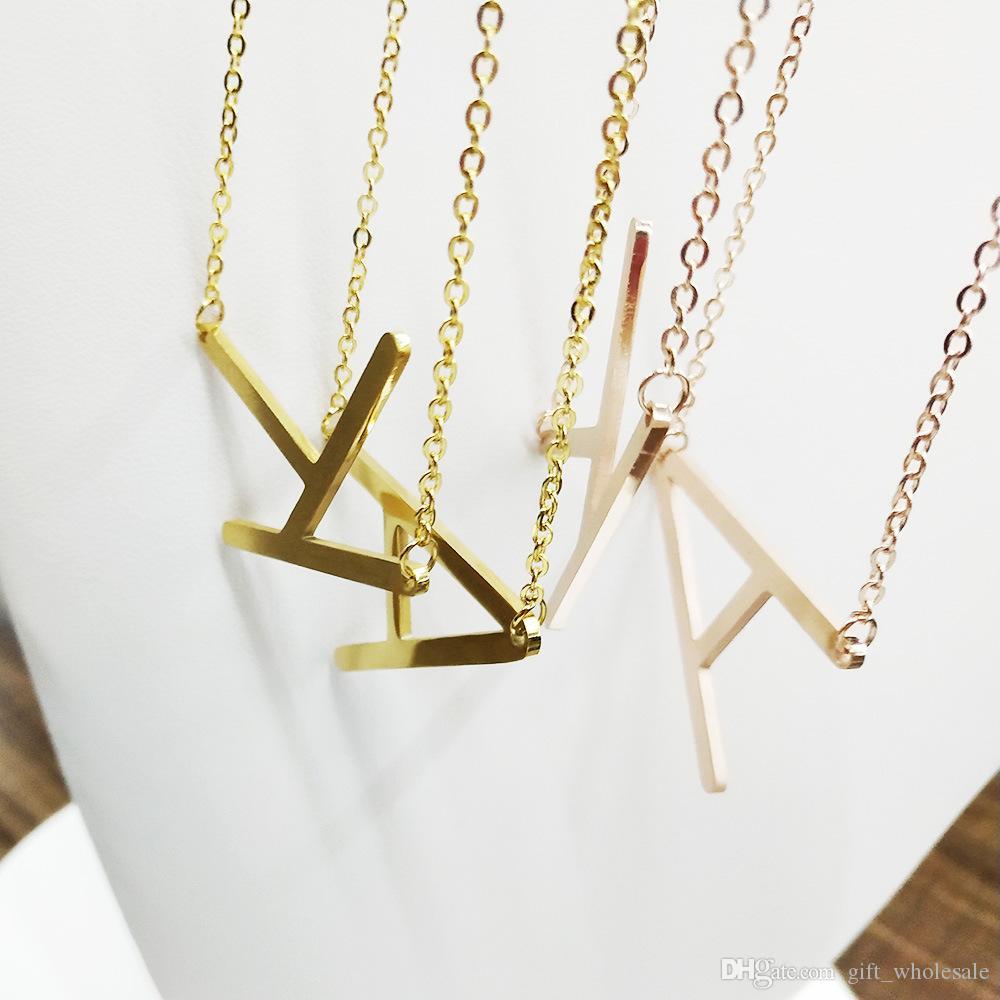 Acero Inoxidable 26 Cartas Collar Inicial Collar de Disco Alfabeto Mujeres Kolye Collier Amigos Carta Familiar Collar Joyería
