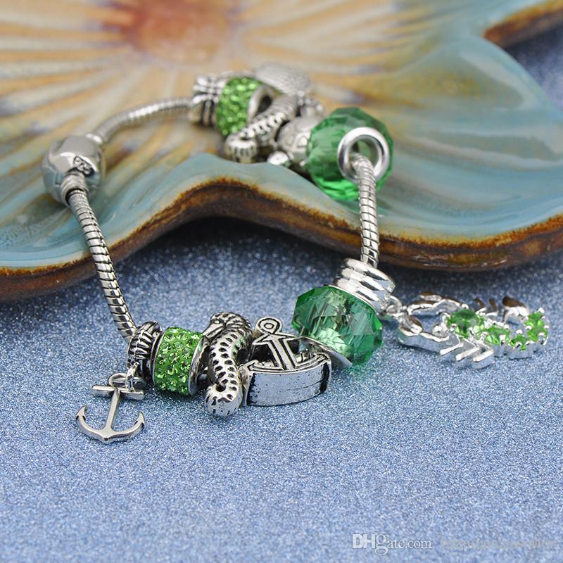 Authentische Silber Überzogene Charms Armbänder Fit Pandora Frauen Armreif Facettierte Murano Green Kristall Glasperlen Scorpion Anhänger Schmuck P189