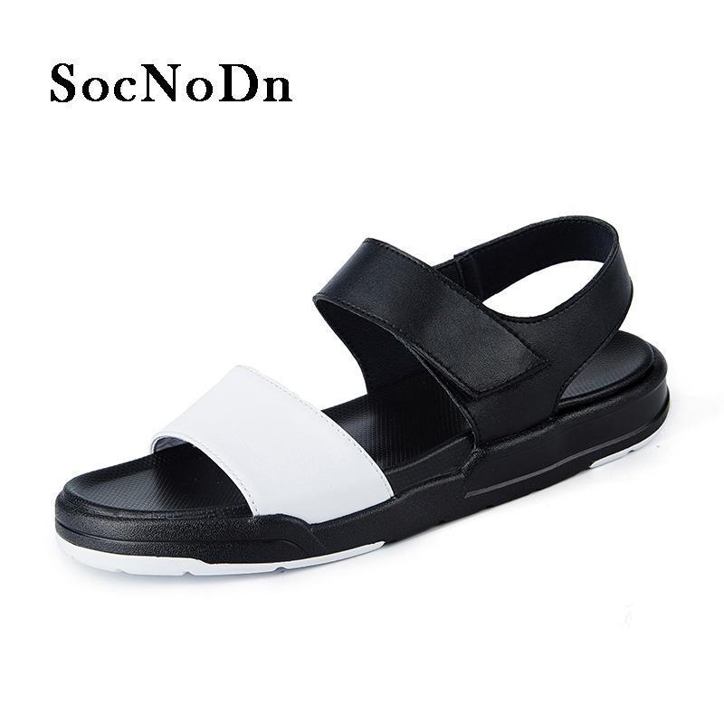 0070b8da0 SocNoDn Men S Summer Sandals 2018 Pu Leather Casual Shoes Male ...