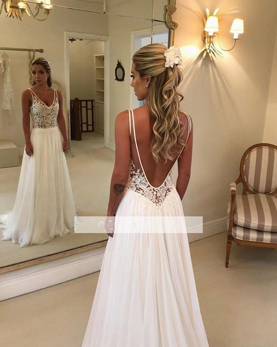 Elegant A Line Beach Wedding Dresses 2020 New Lace Applique V Neck Backless Chiffon Bridal Gowns Cheap Custom Made 748