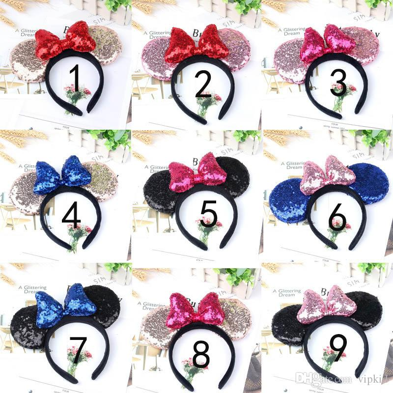 Girl Cute Black Mouse Sequin Crown Ears Hairband With Sequin Hair Bow Kids Bling Glitter Hair Bands Holiday Hair Accessories For Children C2
