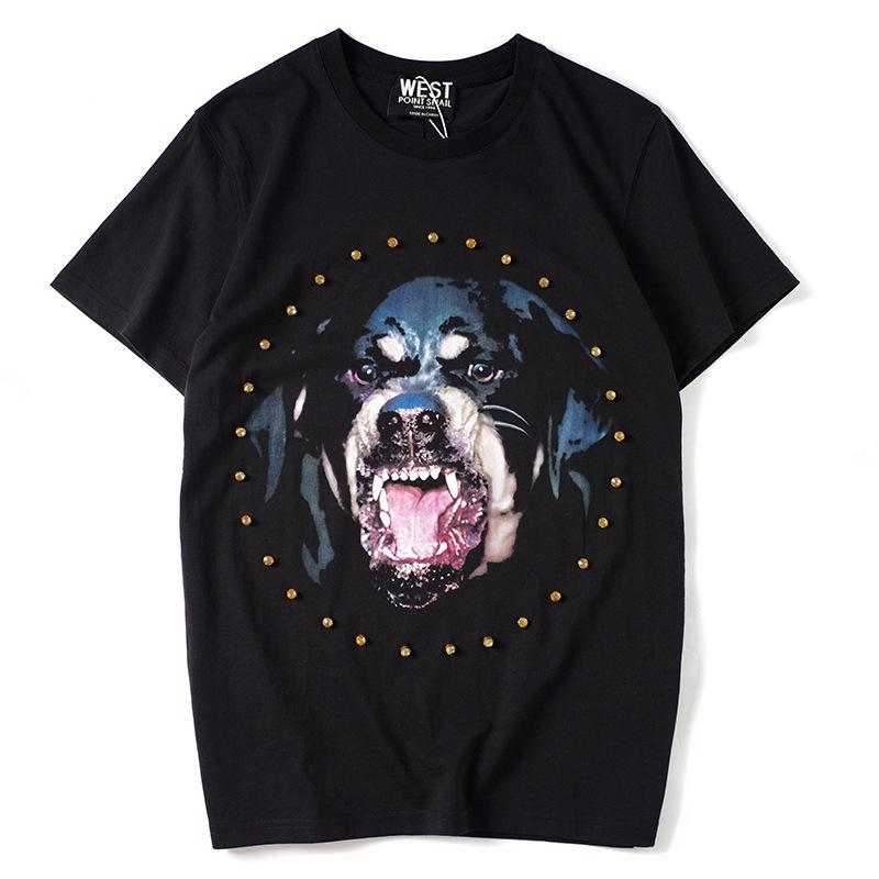 Mens & Womens T-shirt Fashion Summer Short Sleeve Dog Head Print Breathable Loose Tees for Men Women Couples Hip Hop Tops T Shirt S-2XL