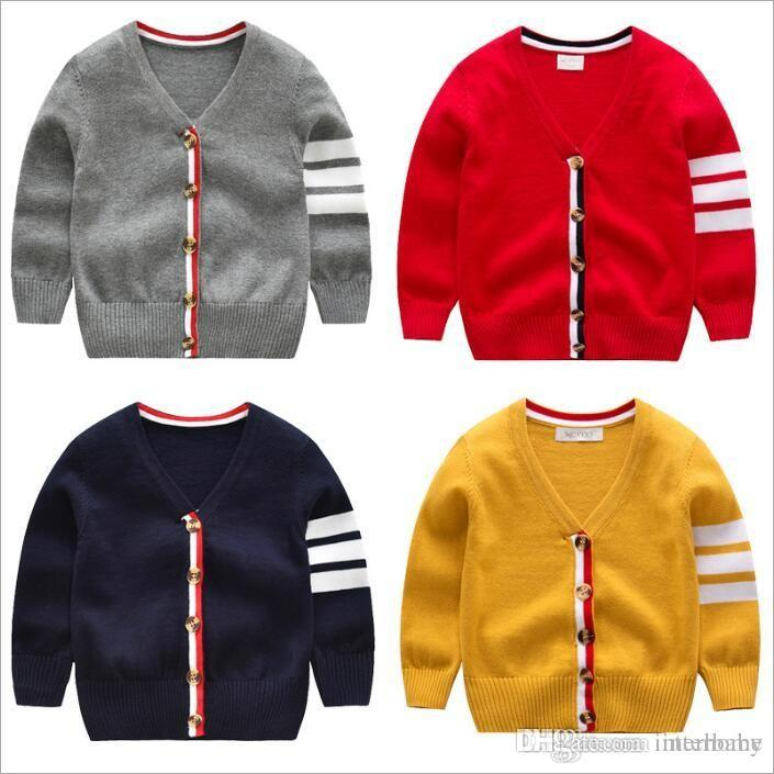 17e415679 Baby Clothes Boys Cardigan Sweaters Striped Knitted Coat Fashion Crochet  Outerwear Kids INS Knitwear Outwear Child Cotton Sweaters Gift 4902 Little  Girls ...