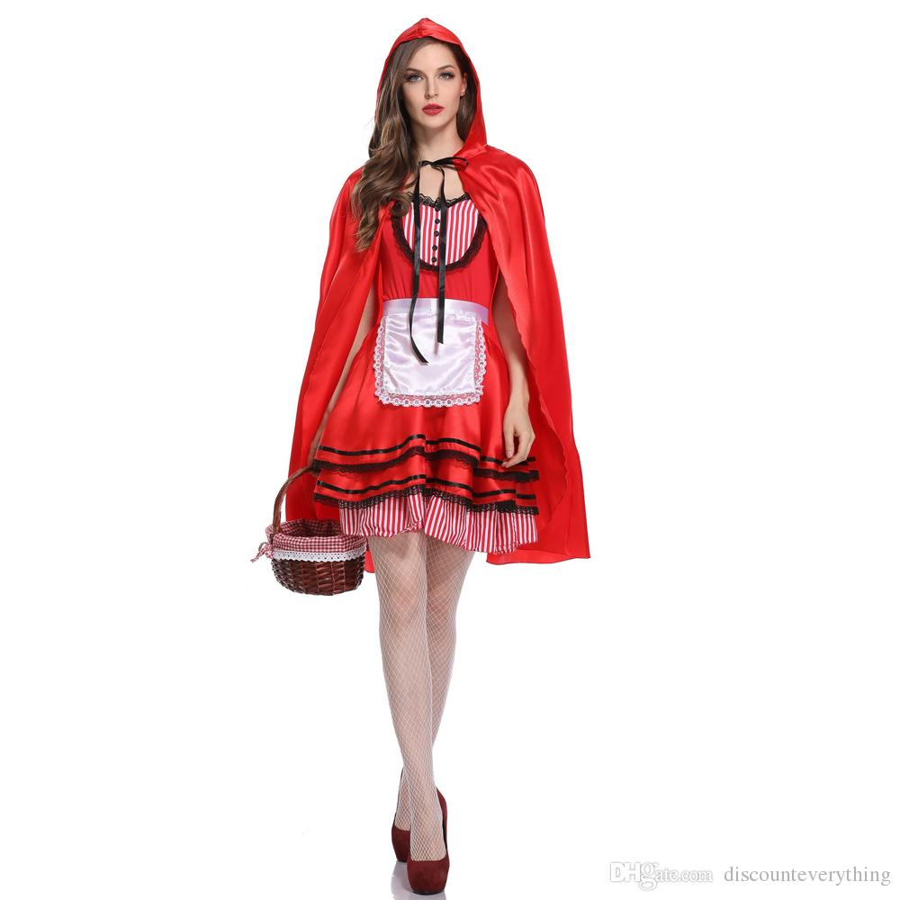 Halloween Adult Little Red Riding Hood Costume Party Cosplay Fancy Dress With Cloak Size M L XL