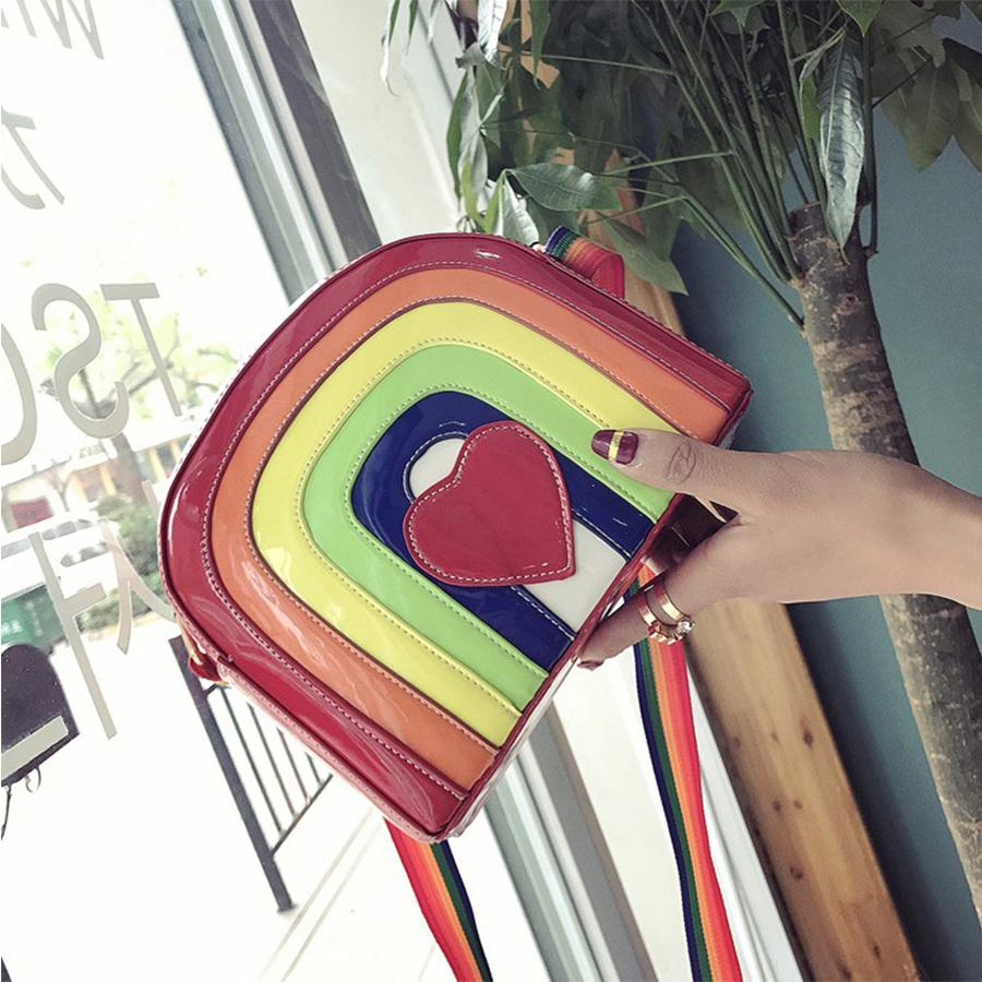 Rainbow Jelly Bags Women Cartoon Heart Summer Beach Bags Candy Color Women Messenger Bag Pu Leather Females Handbags New