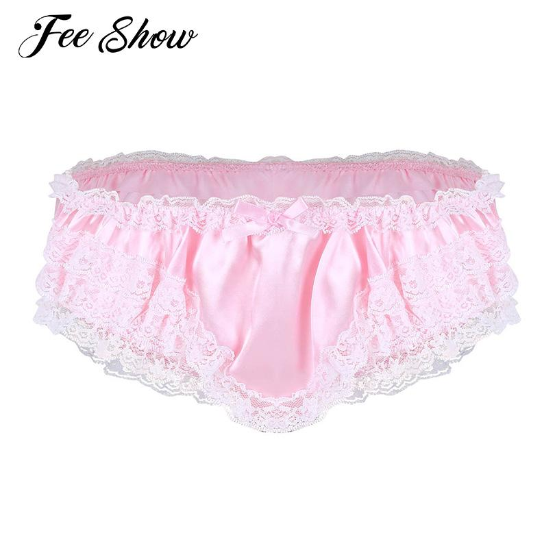 5514708fb 2019 Feeshow Men Lingerie Briefs Underwear Shiny Satin Ruffled Frilly Lace  Sexy Panties Low Rise Stretchy Sissy Panties Bikini Briefs From Edwiin04