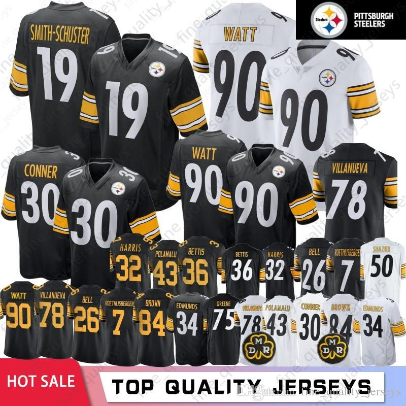 quality design 92b95 26abe 19 Juju Smith-Schuster Pittsburgh 84 Antonio Brown Steelers Jerseys 90 T.J.  Watt 30 James Conner 78 Alejandro Villanueva 2019