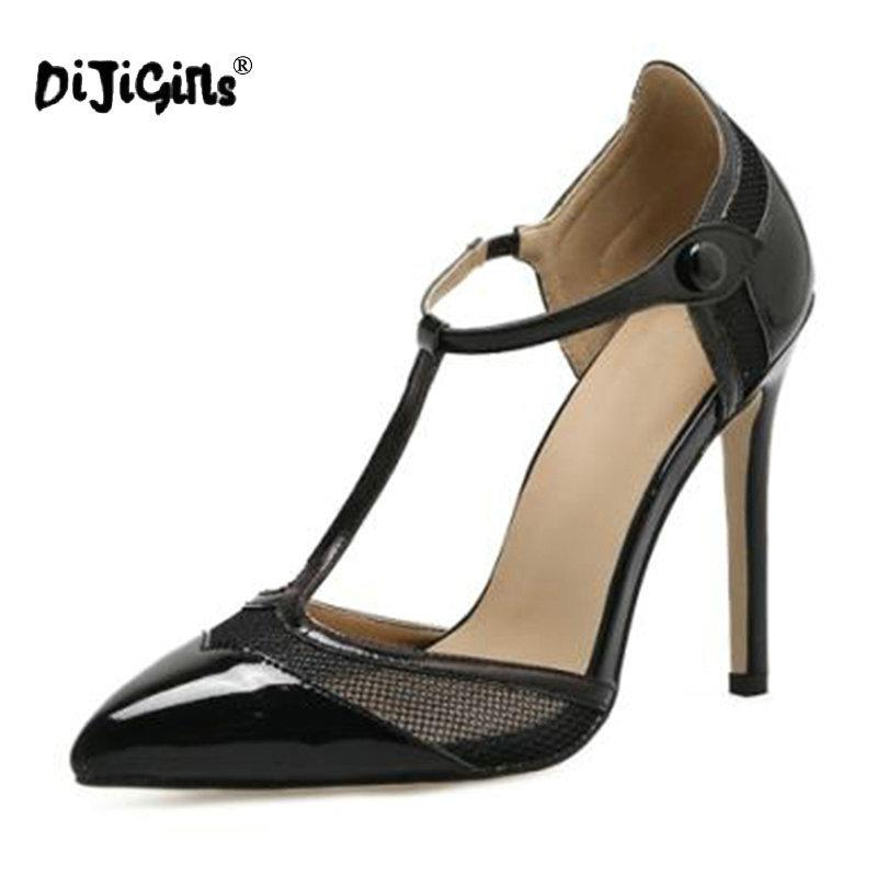e1b7b367a083 Dress Dijigirls T Strap Pointed Toe Pumps Stiletto Extreme Patent Leather  Shoes Black Apricot Women High Heels 11cm Size 35 40 Shoes For Men Womens  Shoes ...