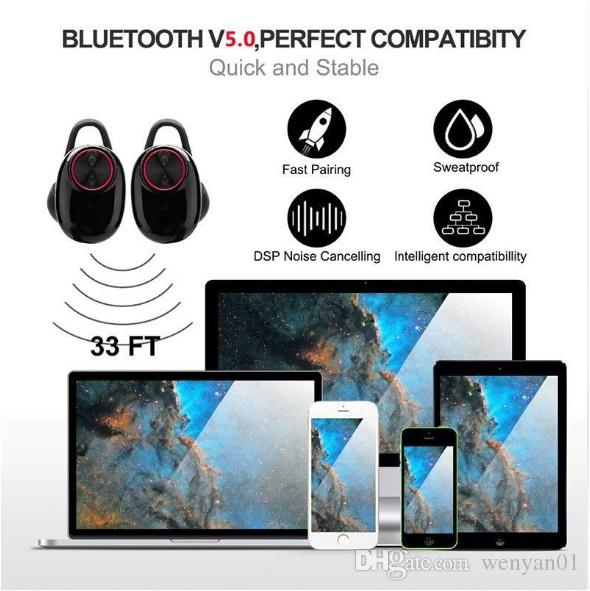 Bluetooth Headphone With Mic Charging Box V5.0 Headset EDR Stereo Sound V5 Dual Wireless Earphone Handsfree Stereo Music Calling TWS Earbuds
