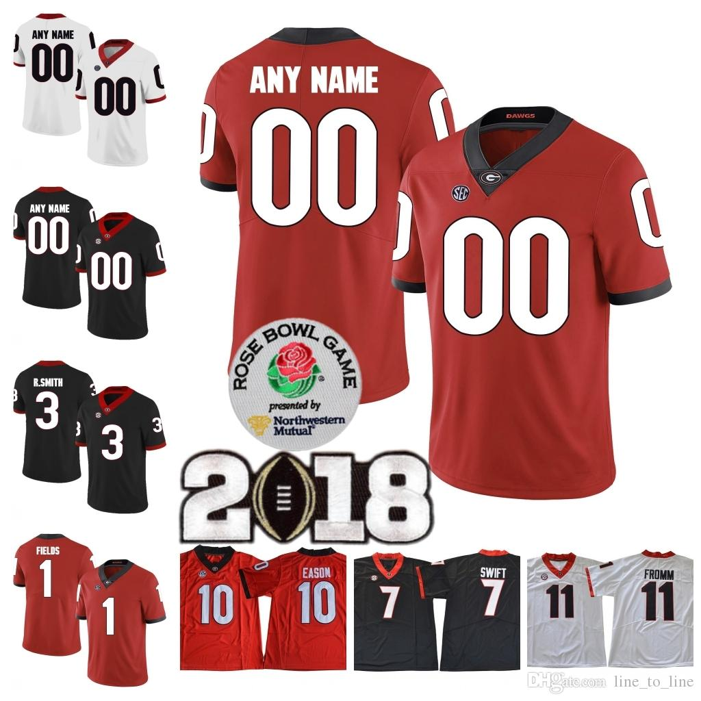 6ad92039144 2019 2018 Custom UGA Georgia Bulldogs College Football  1 Michel Justin  Fields 3 Roquan Smith Personalized Any Name Number 2018 Rose Bowl Jerseys  From ...