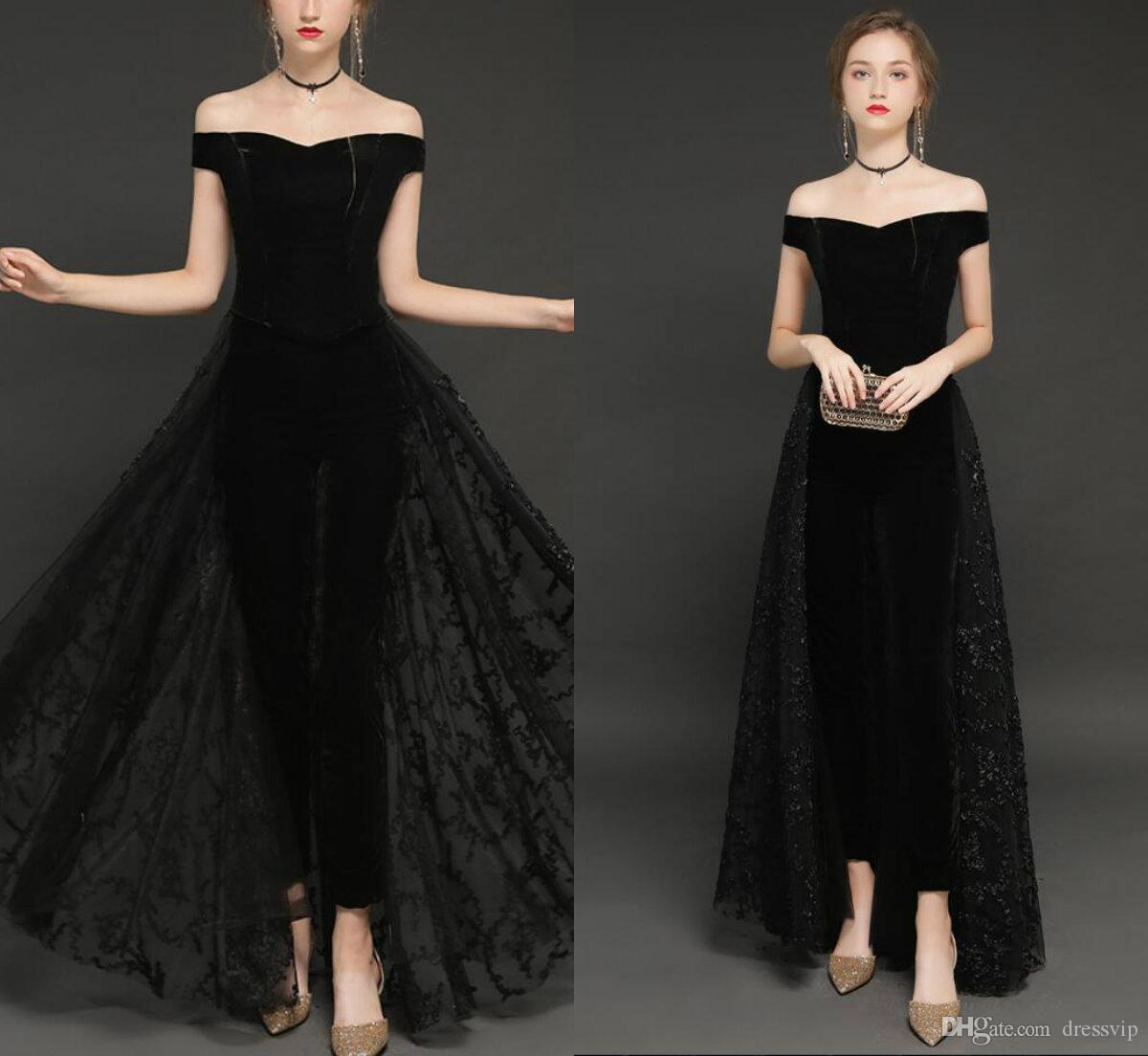 4548d8756d9 Black Women Jumpsuit With Detachable Long Train Off The Shoulder Lace  Appliqued Zuhair Murad Prom Dress Floor Length Formal Evening Gowns Long  Sleeved ...