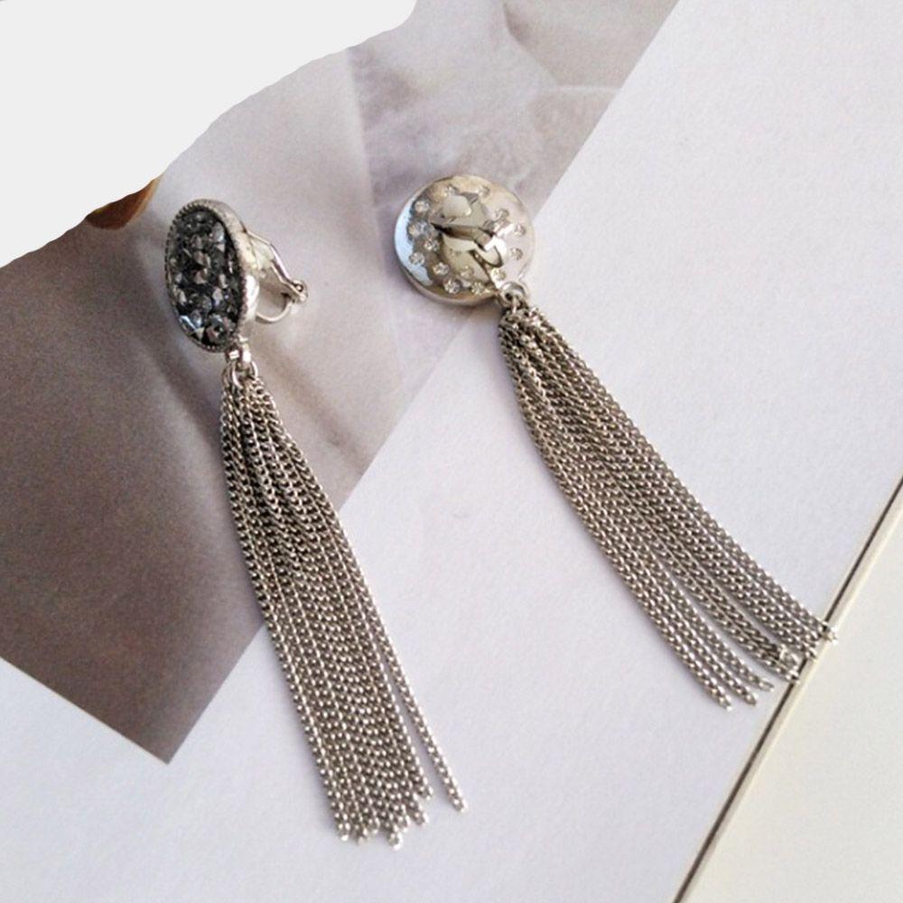 Chadestinty No Hole Black Earrings Round Clip Earing Without Piercing Long Chain Tassel Earrings For Women Jewelry Ear Cuff