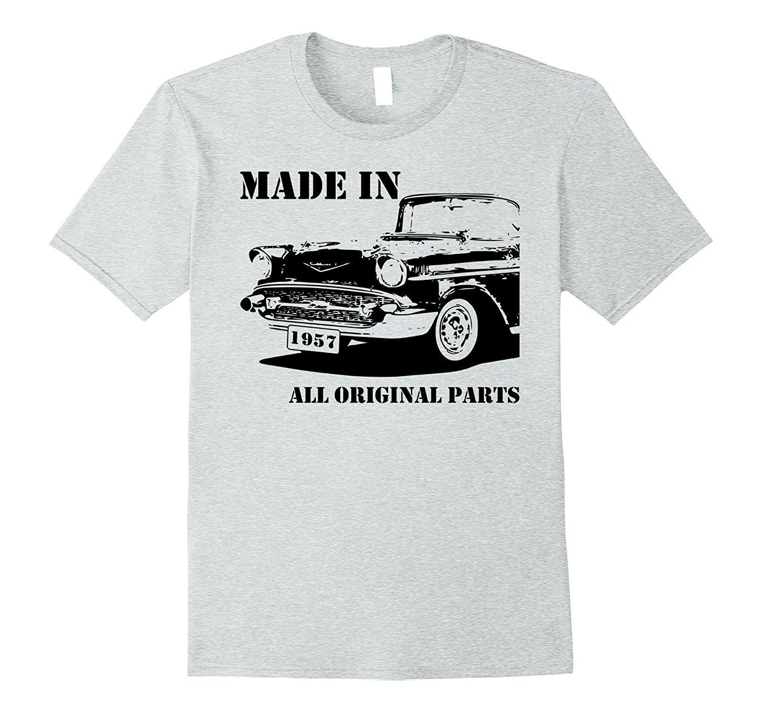 60th Birthday Vintage Car Made In 1957 Gift Idea Man T Shirt Print T Shirt Men Short Sleeve Top Tee Printed Pure Cotton Men'S Fitted Shirts T Shirt Sale ...