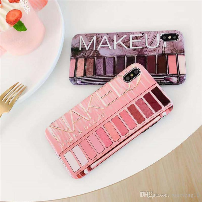 Fashionable mobile case IMD silicone mobile case back cover of eyeshadow  box iphone 11 6 7 8plus x xr xs max