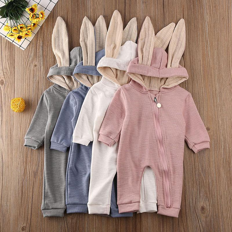 Bebé recém-nascido menino macacãozinho Orelhas de Coelho inverno quente roupas Macacão Romper Conjuntos infantil bonito belo presente da criança Um Pieces