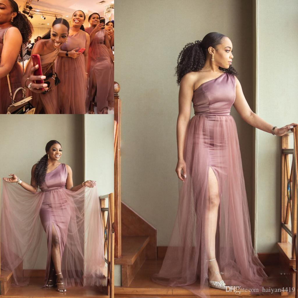 2020 New Design African Mermaid Bridesmaid Dresses One Shoulder Side Split With Tulle Overskirts Plus Size Wedding Guest Maid of Honor Gowns