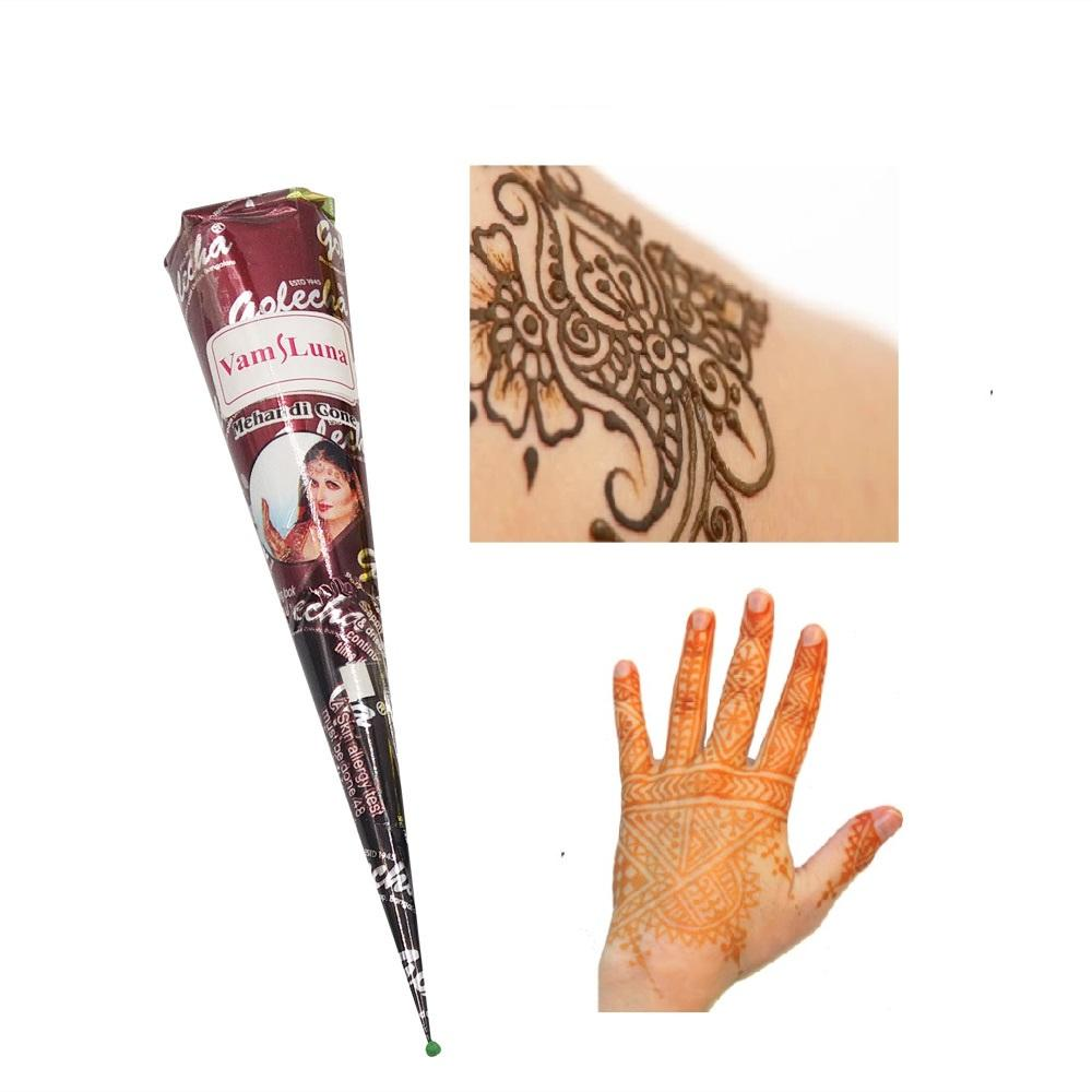 body paint ink Indian Henna Cones Red Brown Black Color 3 Piece + 18  Stencils 6*6cm Temporary Tatoo Kits Body Art Mehandi