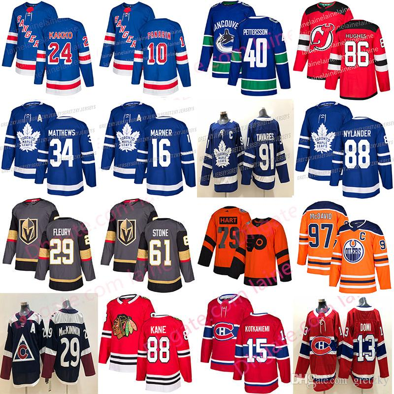 2019 New Jersey Hóquei Toronto Maple Leafs Chicago Blackhawks Vegas Golden Knights 61 Pedra 40 Pettersson Edmonton Oilers jerseys 97 hóquei