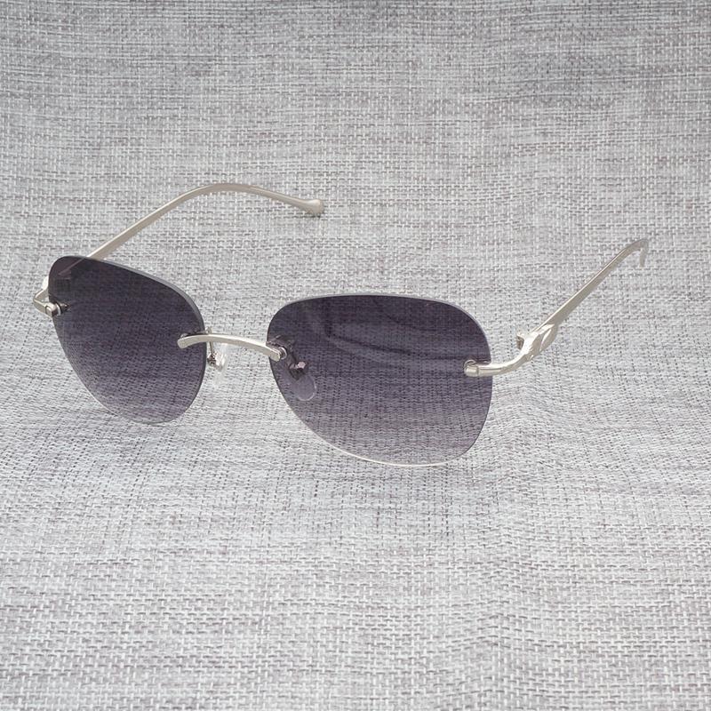 56f0d3b8a8463 Compre Leopardo Vintage Styple Oval Óculos De Sol Dos Homens Sem Aro  Quadrados Óculos De Armação De Metal Gafas Para Oculos .