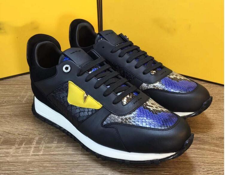 18 Hot yellow eyes little monsters Top quality All cowhide stitching Men's casual shoes Luxury brands free shipping