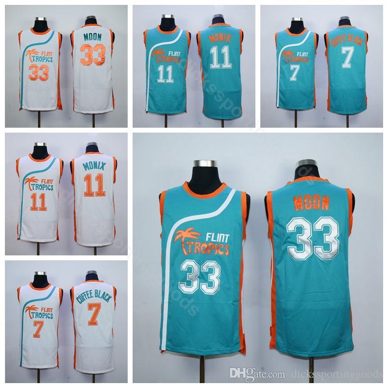 332861bc41b 2019 College Flint Tropics Semi Pro Movie 33 Jackie Moon Jersey Men  Basketball 7 Coffee Black 11 Ed Monix Green White Uniform Breathable From  Top sport mall ...