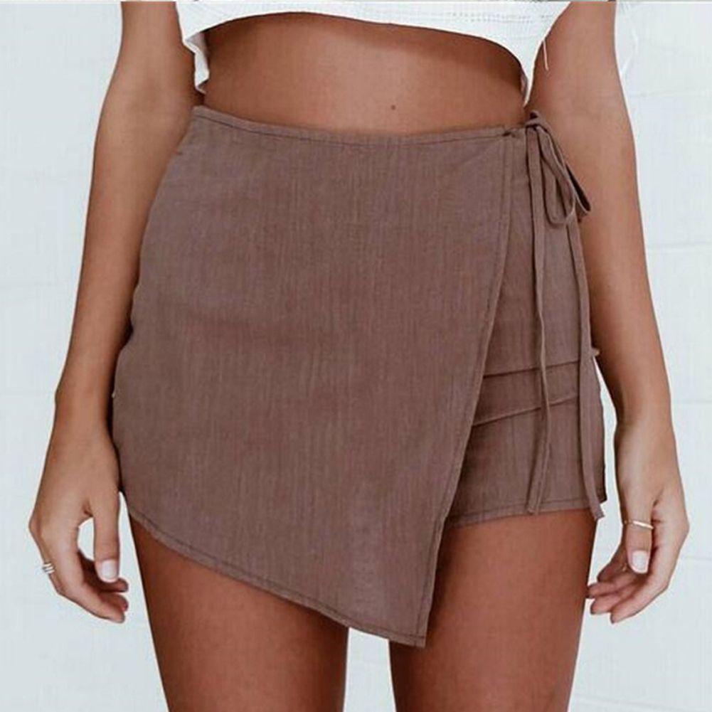 4c3b76dd8 Señoras de las mujeres Minifalda de verano Irregular con cordones de  hendidura Falda corta Casual