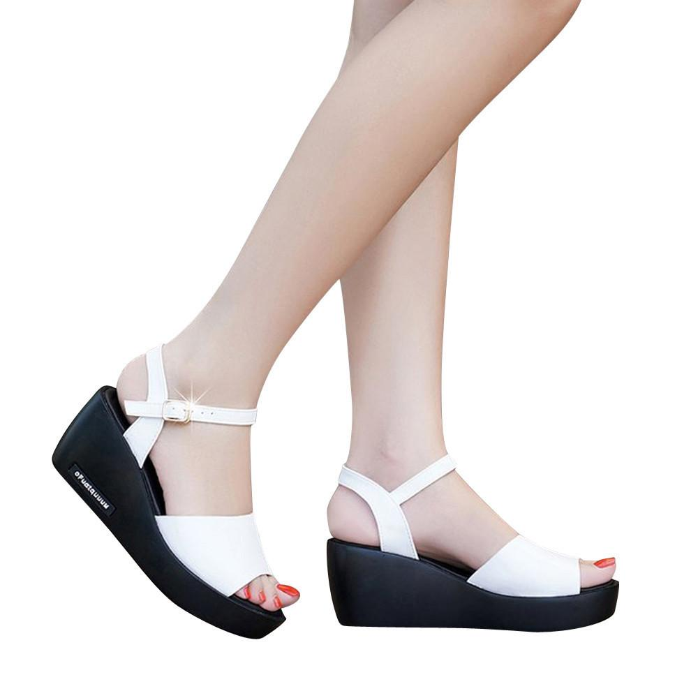 d57fe900b Fashion Women Fish Mouth Platform High Heels Wedges Sandals Buckle Slope Shoes  Wedges Shoes For Women Pumps Wedge f3 White Shoes Wholesale Shoes From ...