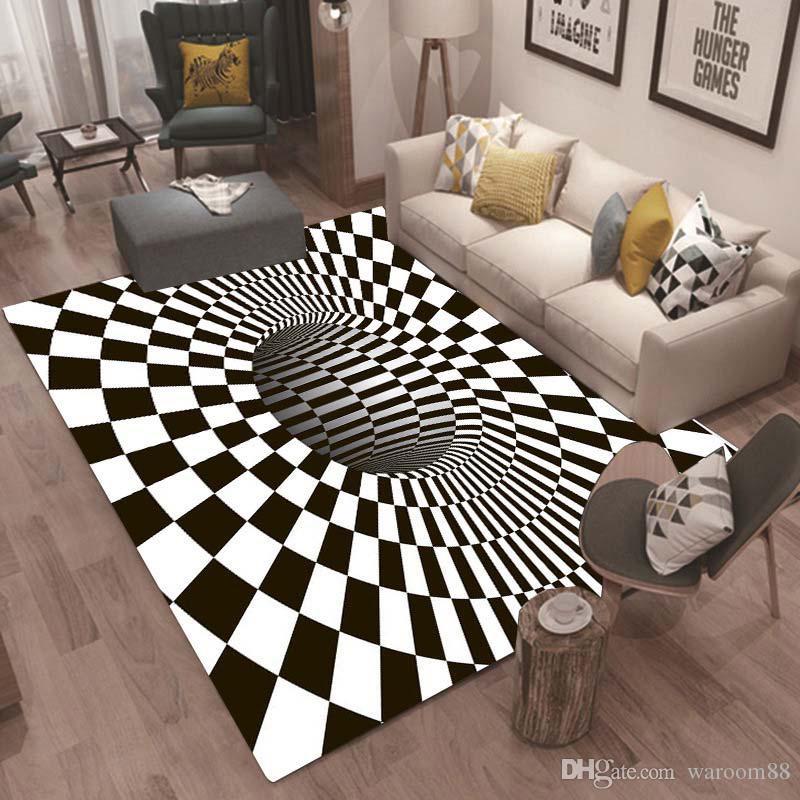 3D Soft Carpets Creative Geometry Optical Illusion Rug Bathroom Living Room  Floor Anti-Slip Mat Bedroom Bedside Coffee Table Carpet Decor