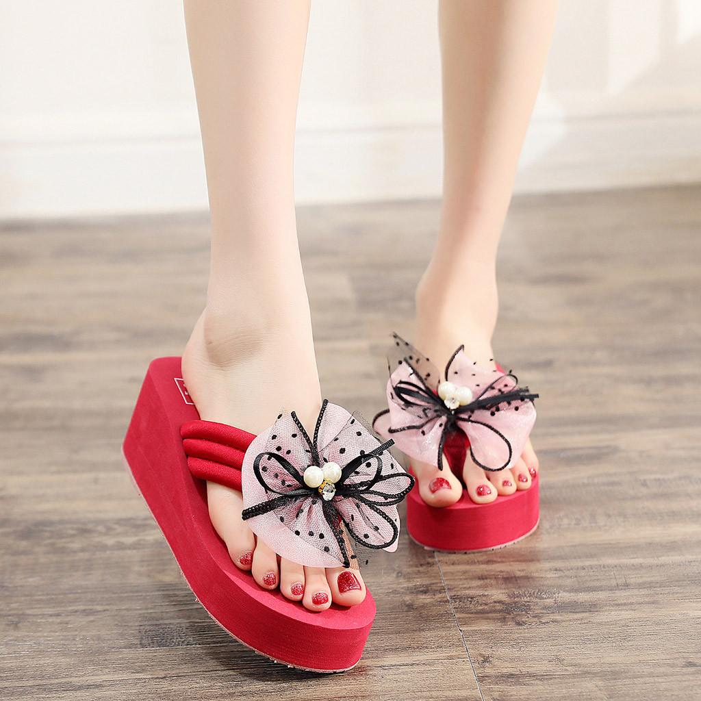 10bee4a67390 YOUYEDIAN Women Slippers Butterfly Knot Floral Wedges Bohemian Style Flip  Flops Sandals Slippers Beach Feminino Vestido  g3 Thigh High Boots Booties  From ...