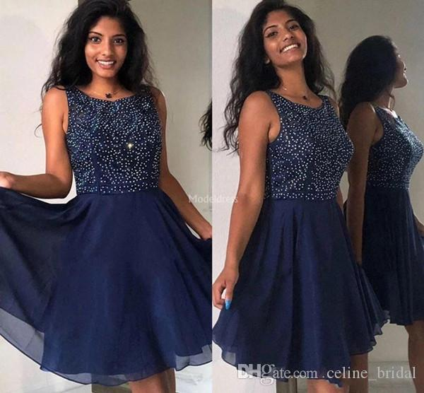 2019 Homecoming Dresses A Line Jewel Knee Length Cocktail Party Dresses With Beads Tulle Short Prom Dresses
