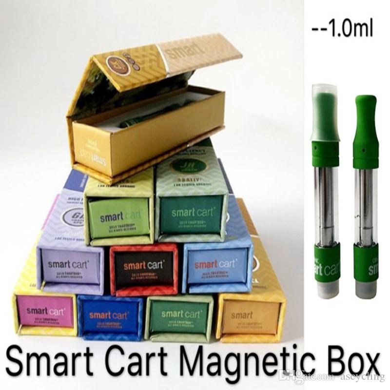 New Smart Carts Magnetic Display Box Smart Cart Vape Cartridge Packaging  Atomizers 1ml Ceramic Empty Vape Pen Cartridges 510 Battery E Cig