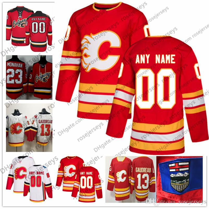 size 40 fca59 c7fb4 Calgary Flames Red Third Vintage Jersey 2019 White #28 Elias Lindholm 33  David Rittich 41 Mike Smith 4 Rasmus Andersson 6 Dalton Prout