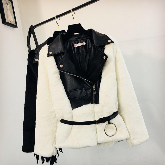 9377032dc Autumn Winter Leather Patch Fur Jacket Coat Women New Fashion PU ...