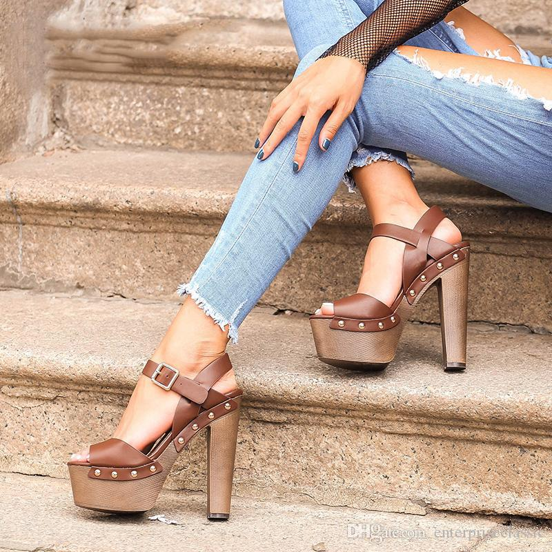 e15ee367d5a Pink Palms Shoes Sandals Wedges Shoes for Women High Heels Peep Toe Ankle  Strap Platform Sandals with Rivet Zapatos Mujer