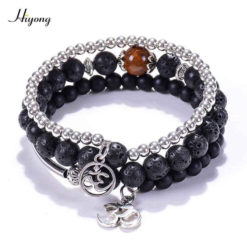 d791df03593 2019 Natural Stone Yoga Beads Wrap Bracelet Bangle,Black Matte Lava Rock  Aromatherapy Essential Oil Diffuser Bracelet OM For Unisex From Buafy, ...
