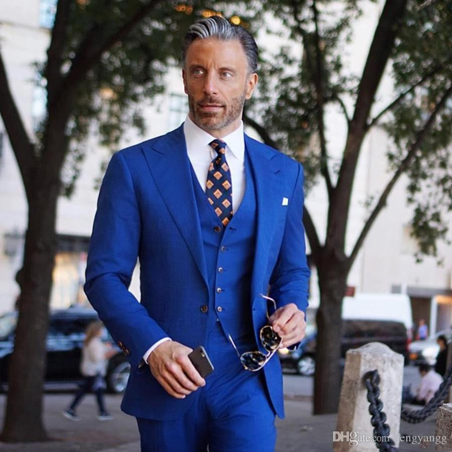 3074282994 Handsome Royal Blue Wedding Suits Peak Lapel One Button Groom Tuxedos  Evening Prom Party Wear Groomsmen Suit Best Man (Jacket+Pants+vest)