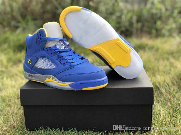 886a3e86d74028 2019 2019 Newest 5 JSP Laney Varsity Royal Basketball Sneakers High Quality  5s Light Charcoal Maize Sports Shoes CD2720 400 With Box Size 40 46 From ...