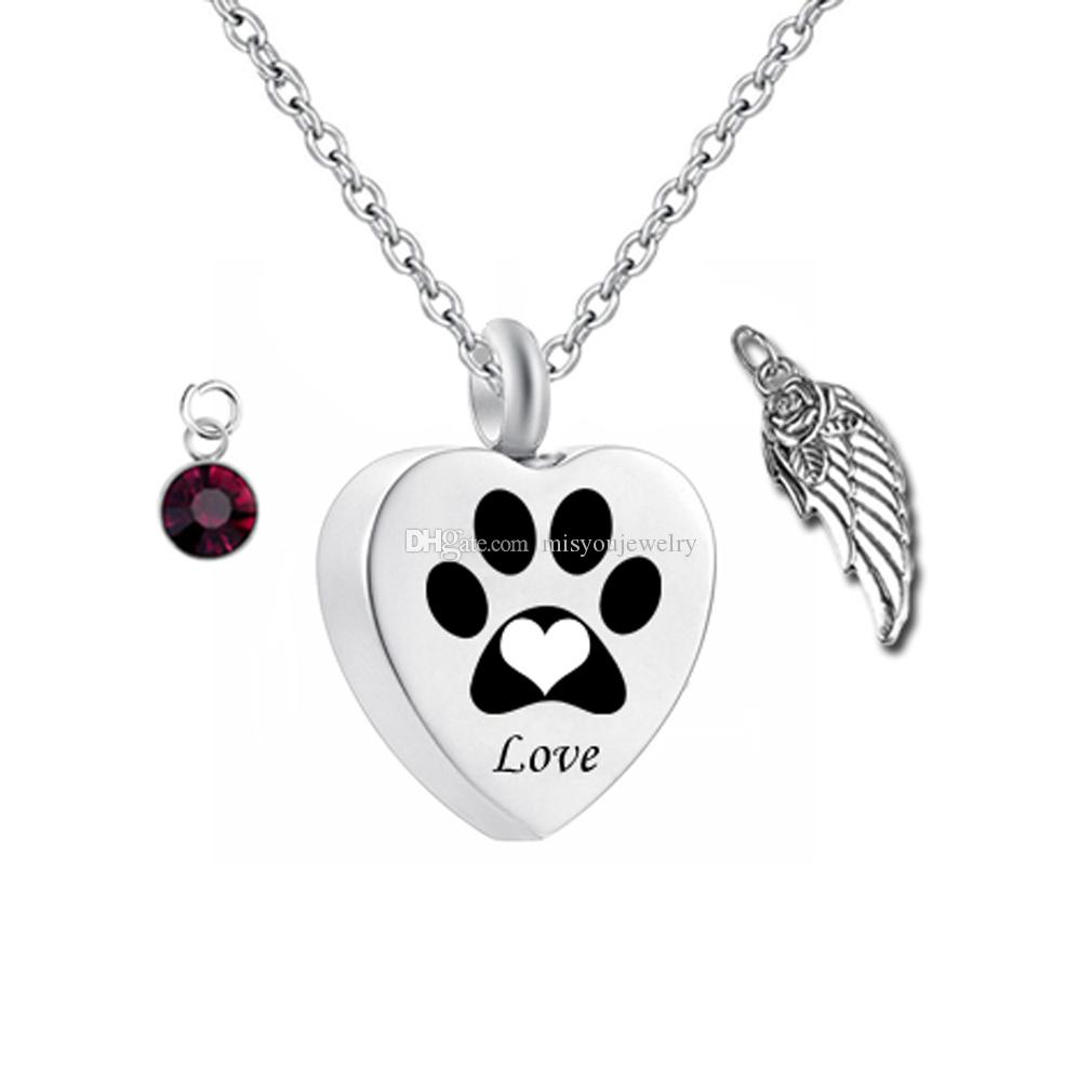 Birthstone Pet Memorial Urn Necklace Dog/Cat Paw Print Heart Cremation  Jewelry Ashes Keepsake Pendant (Engraving)